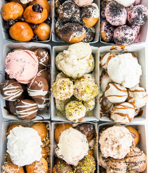 lukumades with gelato